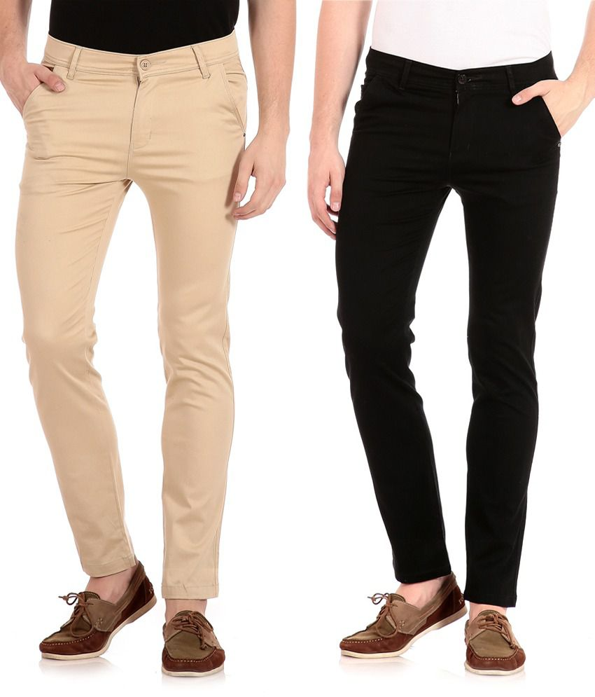 Flyjohn Black and Beige Slim Fit Casual Chinos - Pack Of 2