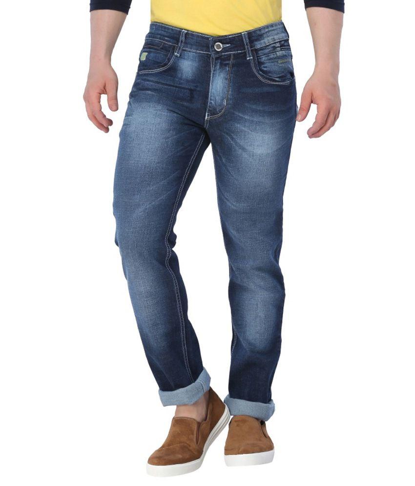 Gasket Blue Cotton Blend Slim Fit Jeans