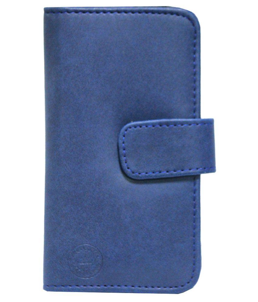 Jo Jo Flip Cover for Celkon A107 - Blue