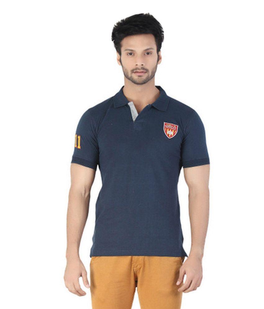 Kkoir navy half sleeves polo t shirt buy kkoir navy half for Full sleeve polo t shirts