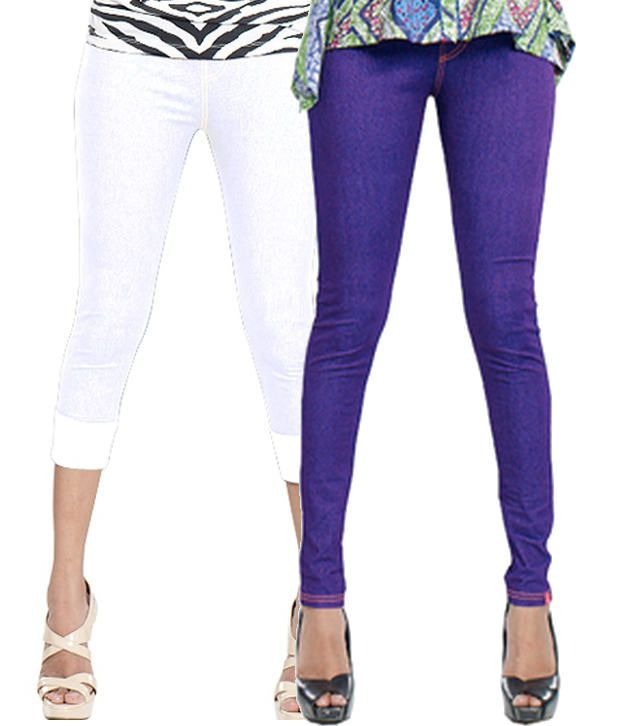 Notyetbyus White and Purple Cotton Lycra Jeggings (Pack of 2)