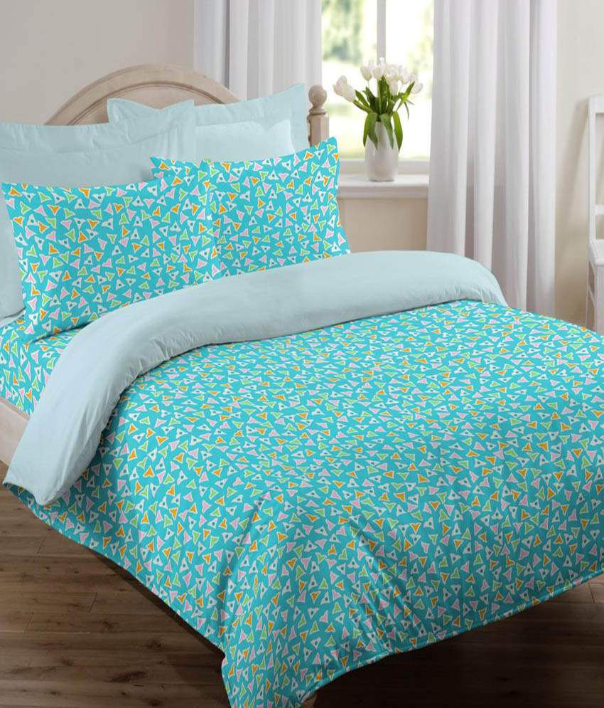 Welhome By Welspun Global Brands Turquoise Double Bed Sheet With 2 Pillow  Covers ...