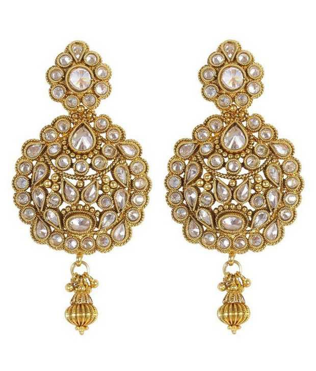 Much More Stunning Fashion Design Gold Plated Crystal Made Polki Earring For Women Jewelry