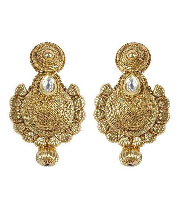 Much More Traditional Fashion Gold Plated Polki Earring For Women Wedding Jewelry