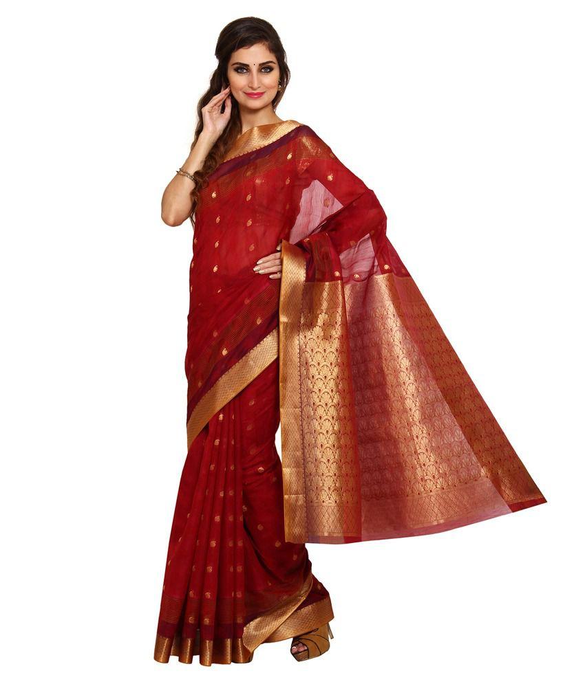 Platinaa Red Cotton Silk Saree