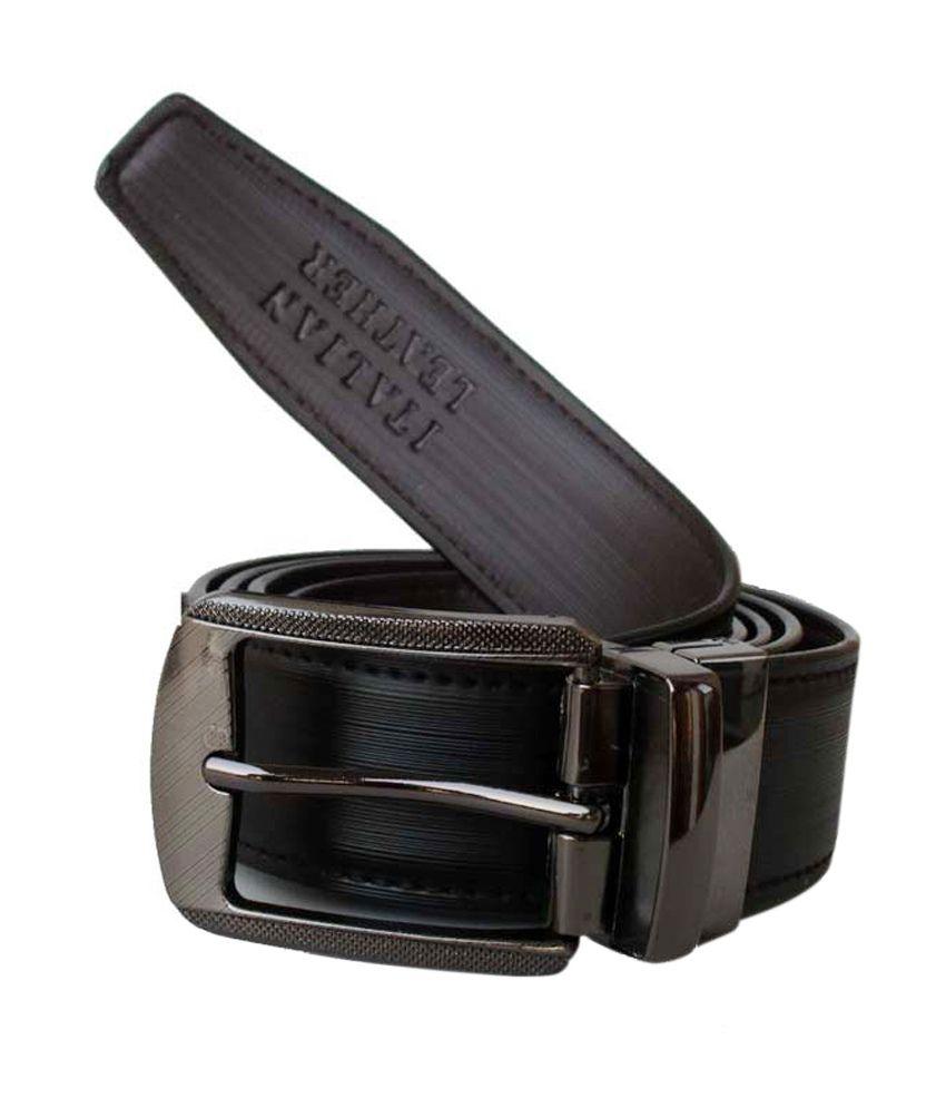 Klaska Black Casual Reversible Belt For Men