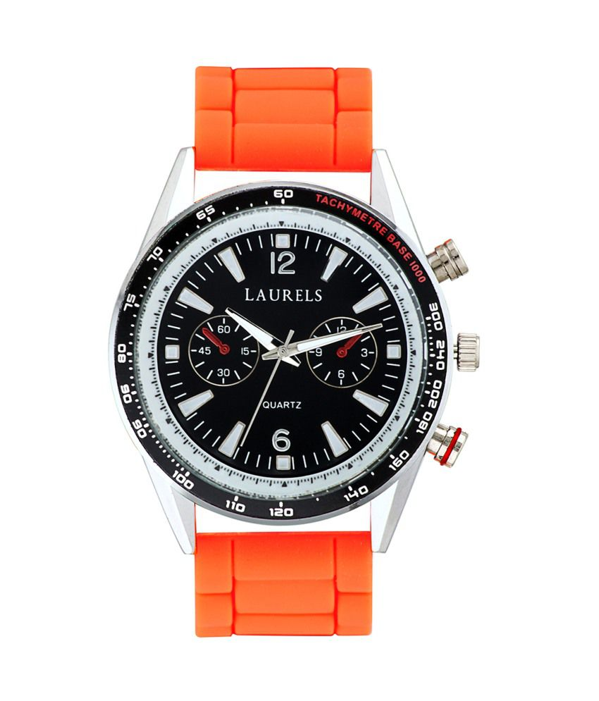 Laurels Orange Silicon Round Watch