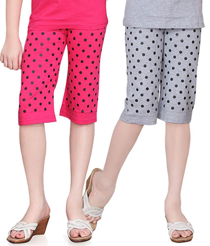 Sini Mini Girls Colorful Dot Capri ( Pack Of 2 )