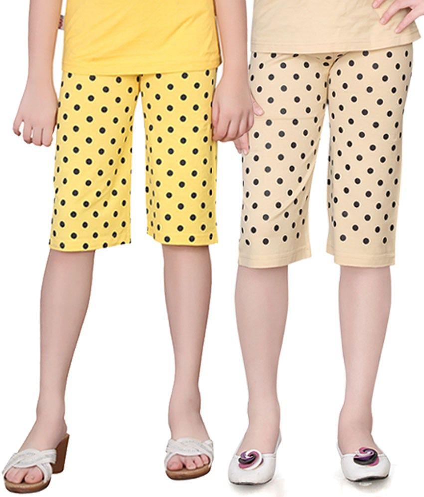 Sinimini Multicolour Cotton Capri Pack Of 2