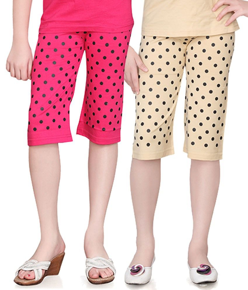 Sinimini Multicolour Cotton Capri Pack Of 2