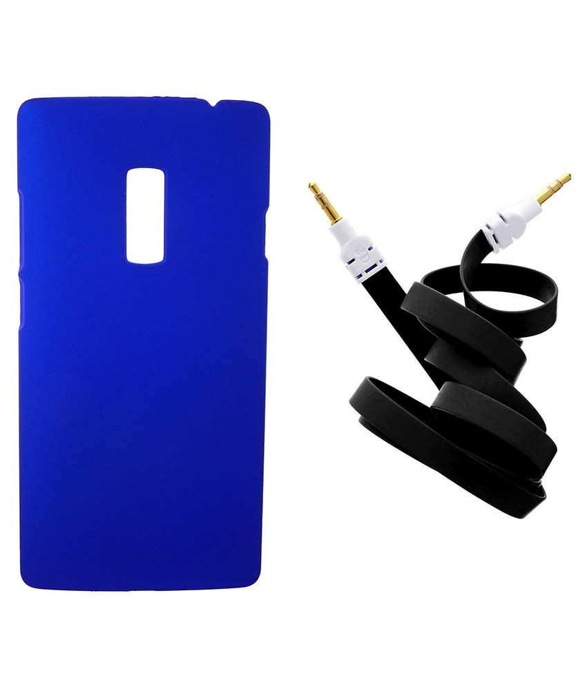 Toppings Hard Shell Back Cover With Aux Cable For OnePlus Two - Blue