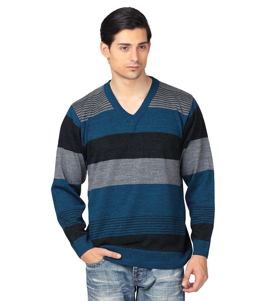 Aarbee Multicolour Full Sleeves Wool Blend V-neck Sweater