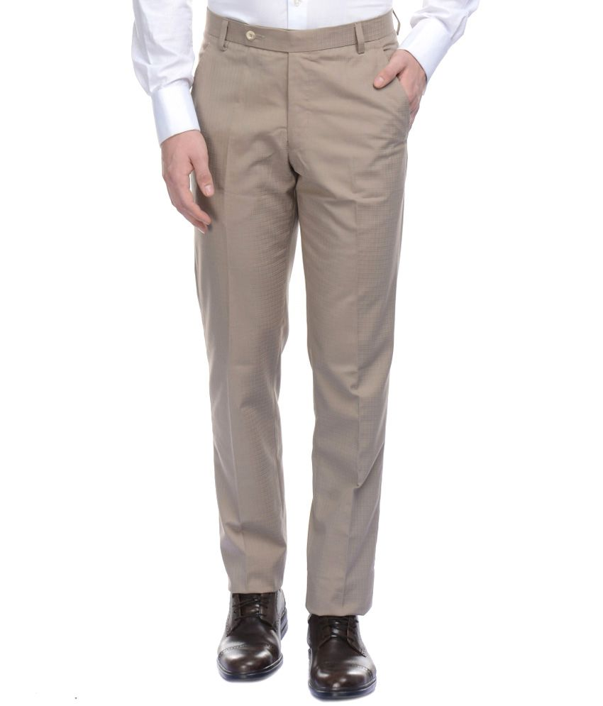 Bendiesel Beige Cotton Flat Formal Trouser