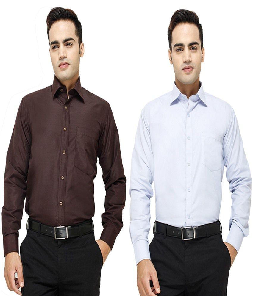 Blue Ocean Multicolor Cotton Blend Slim Fit Regular Formal Shirt - Combo