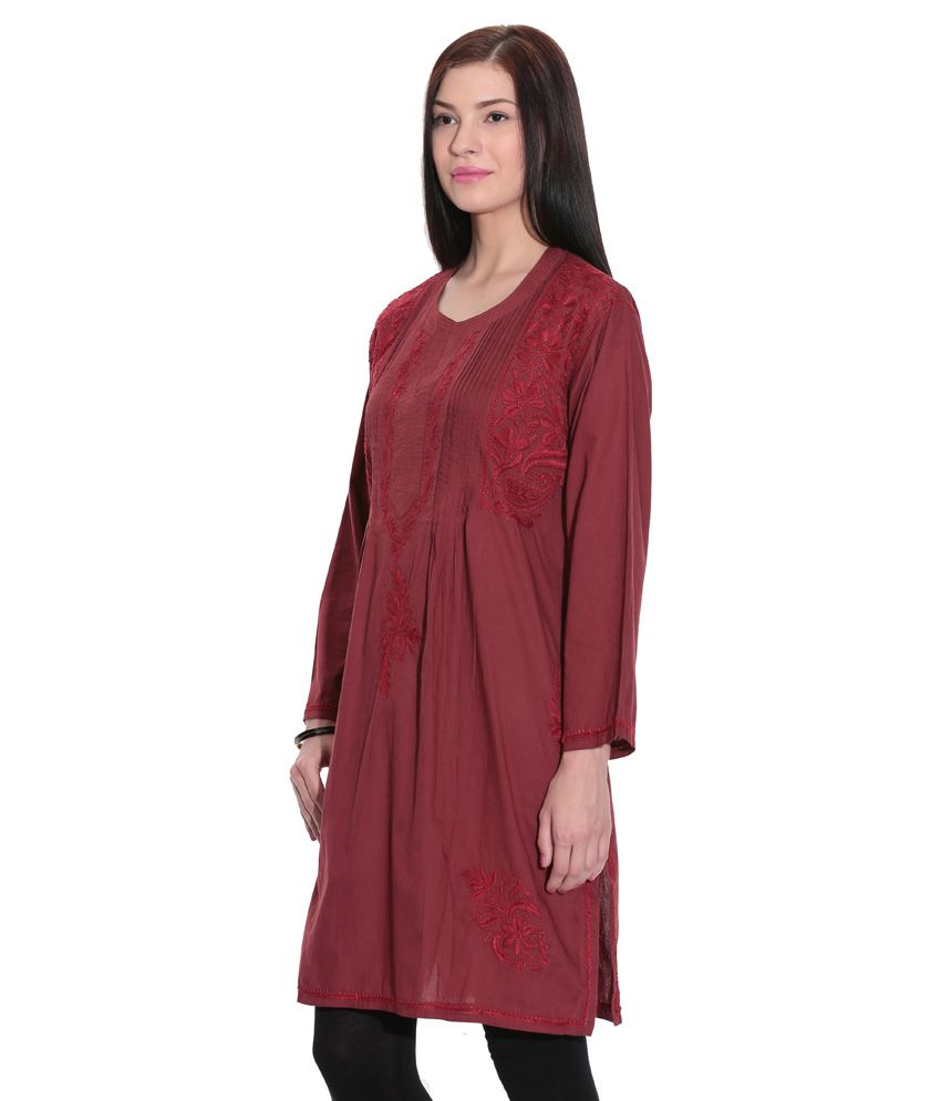 c35d23d5ef ... Indian Handicraft Standards Maroon Lucknowi Chikan Cotton Hand  Embroidered Kurti
