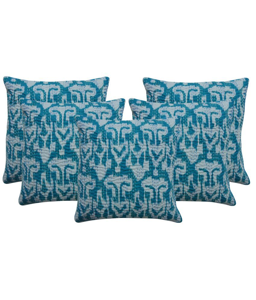 Rajcrafts Indian Ikat Print Blue Kantha Work Sofa Cushion Cover