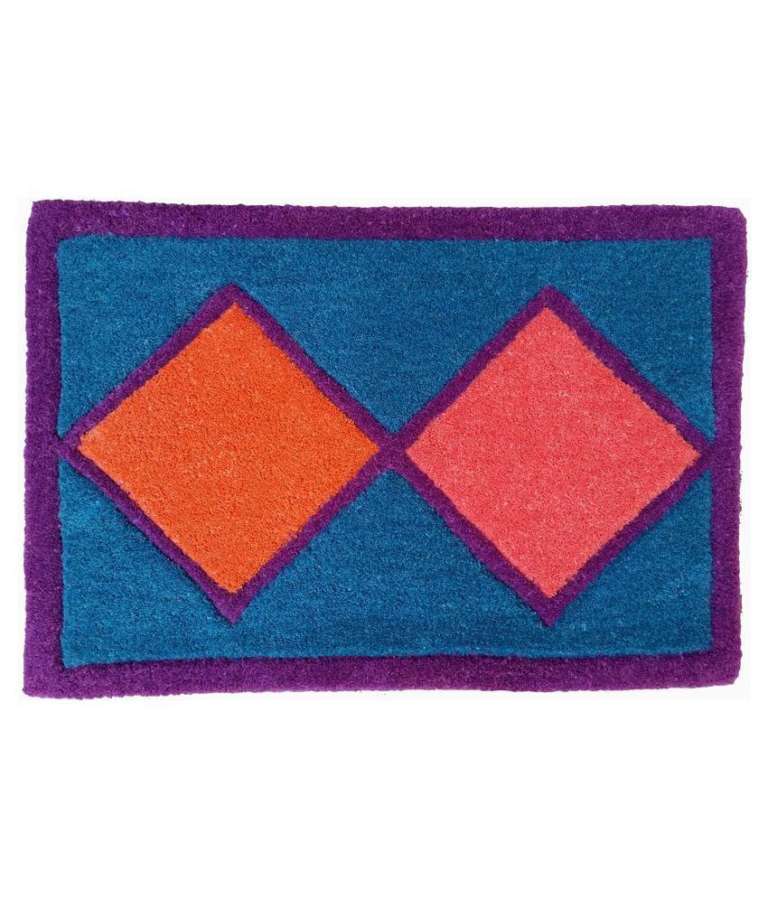 Amit Carpet Blue Cotton Floor Mat