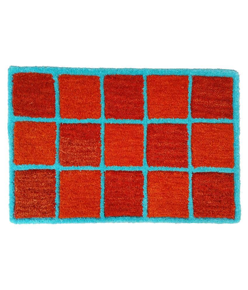 Amit Carpet Orange Cotton Floor Mat