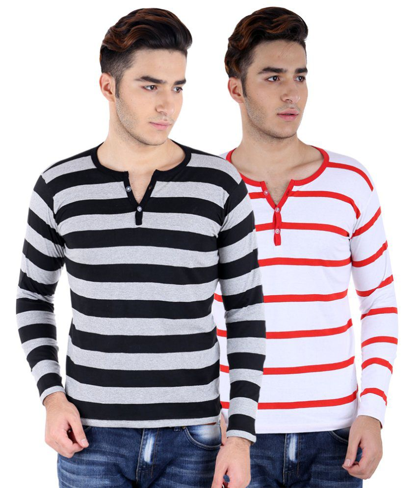Big Idea Gry-Blk & Wht-Red Striped Henley T-shirts Pack Of 2