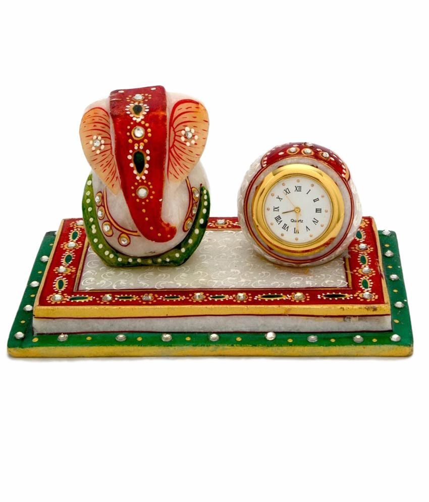 Madhuraj Arts Madhuraj Arts Multicolour Marble Ganesh Idol , Clock And Chowki