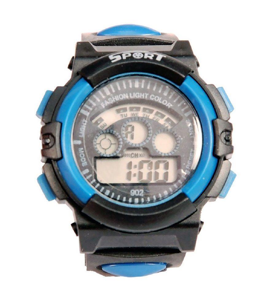 Tct Blue Rubber Digital Designer Watch