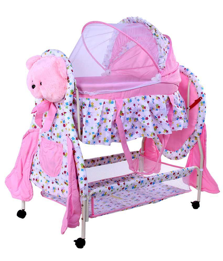 JandA Pink Teddy Cradle Cum Cot