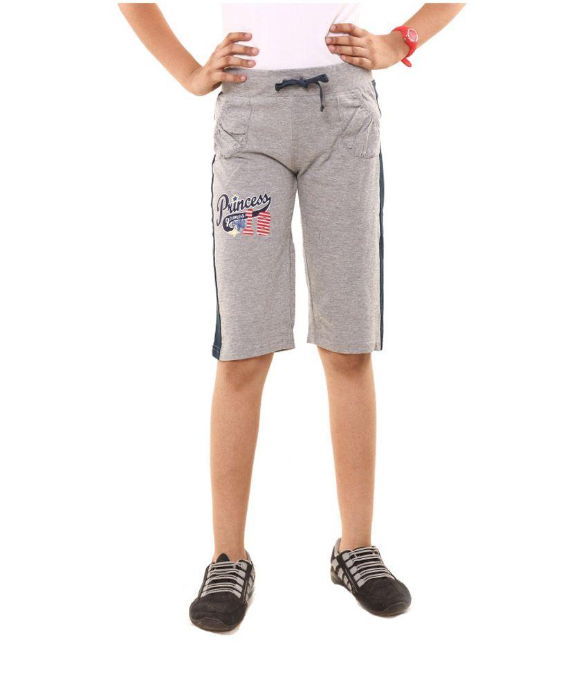 Menthol Gray Cotton Shorts