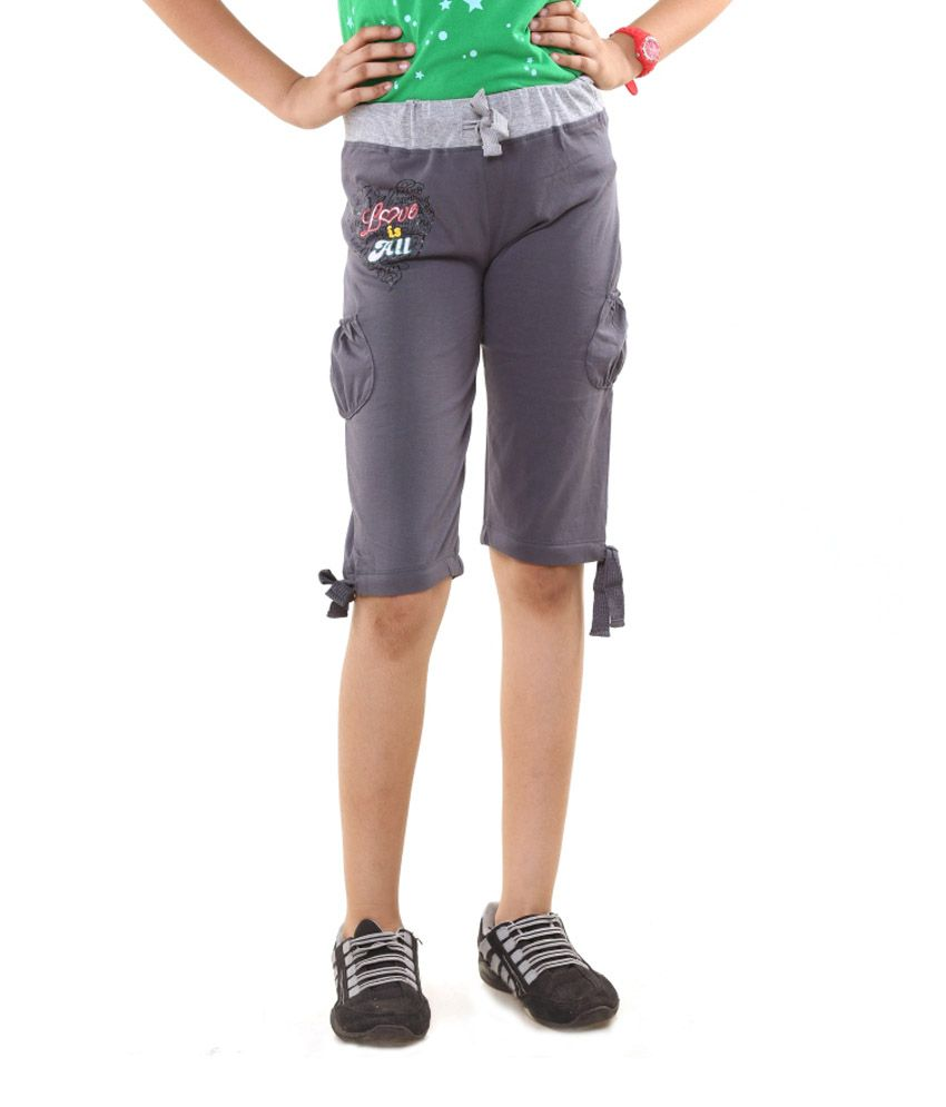 Menthol Gray Cotton Shorts