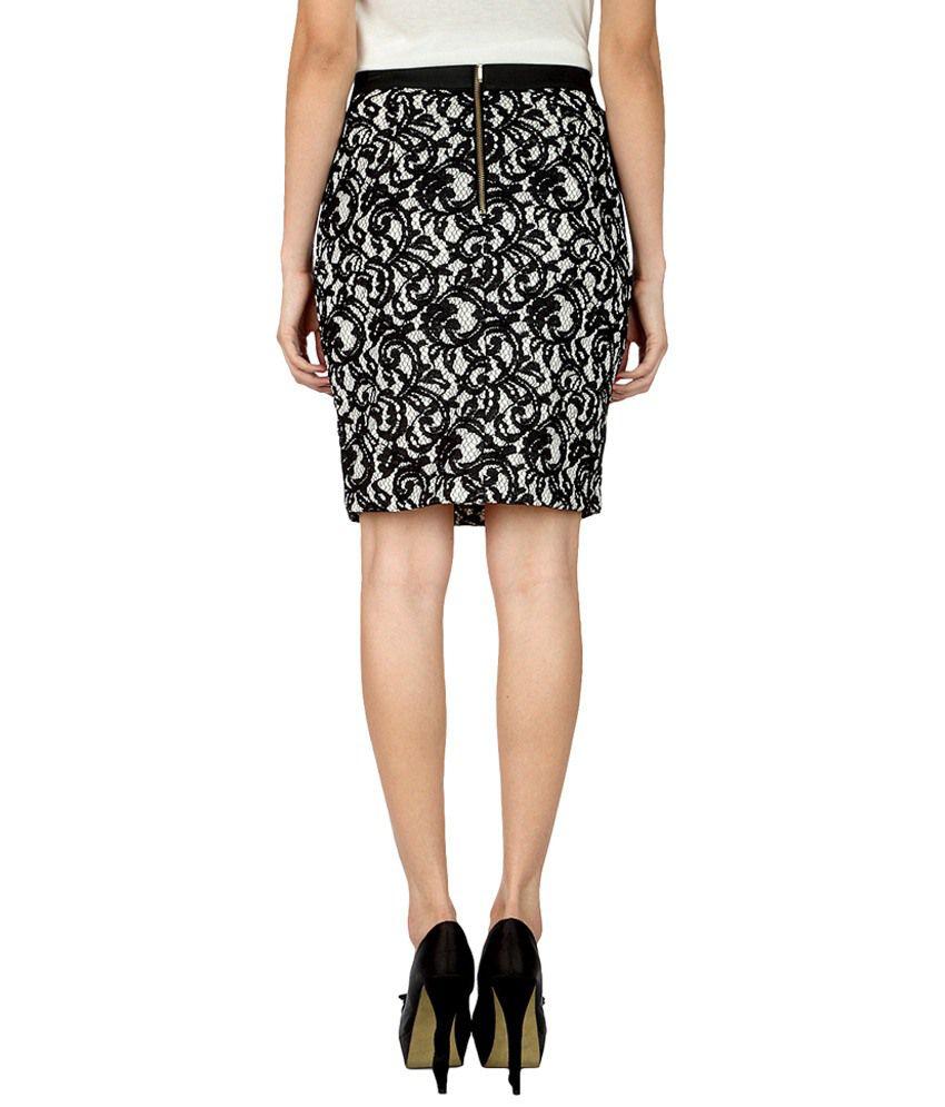 c6a6f95c32 Buy Van Heusen Black & White Lace Pencil Skirt Online at Best Prices ...