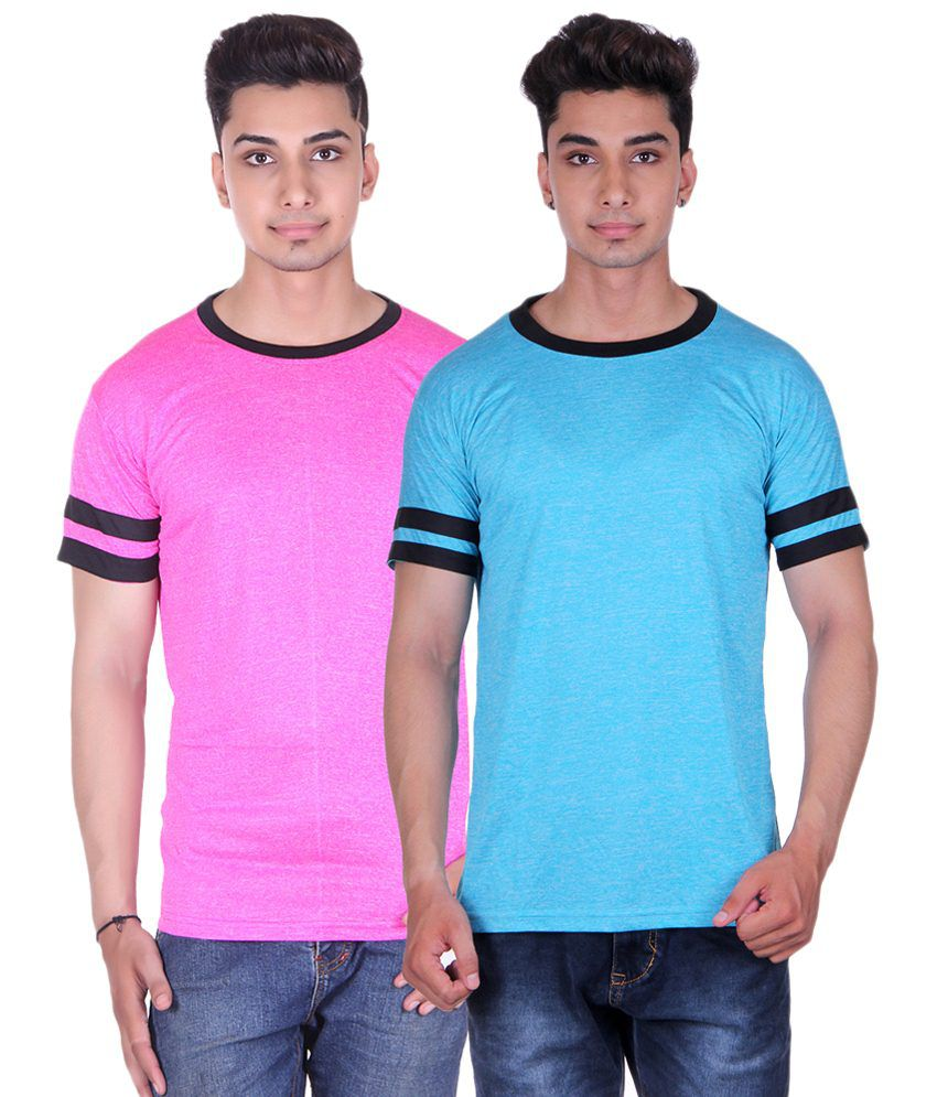 Gag Wear Pack of 2 Pink & Sky Blue Basic Round Neck T Shirts