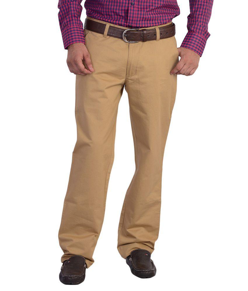 Mild Kleren Khaki Regular Fit Casual Wear Flat Trouser