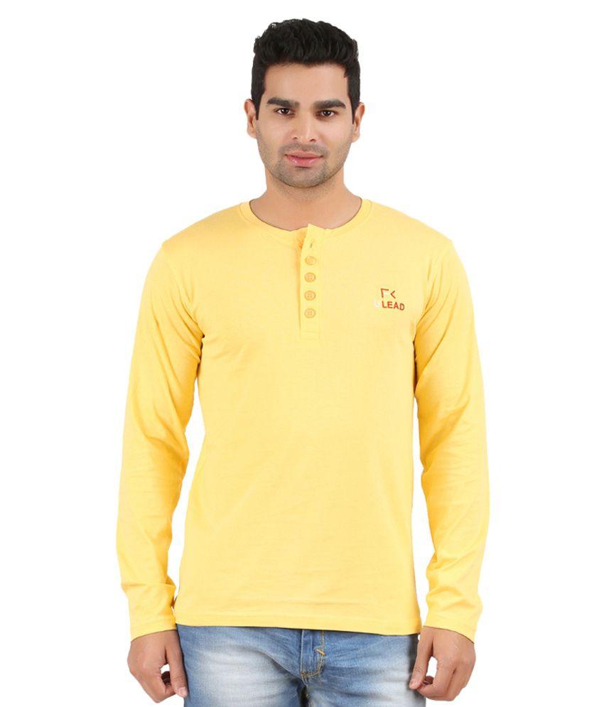U Lead Yellow Cotton T-shirt