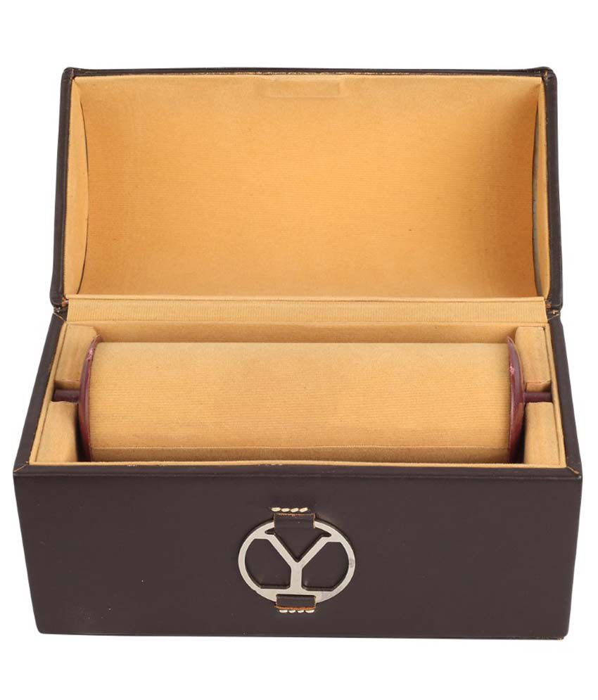 Ystore Genuine Leather Small Bangle Box - Brown