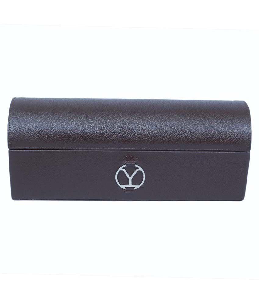 Ystore Genuine Leather Single layer Bangle Box - Brown