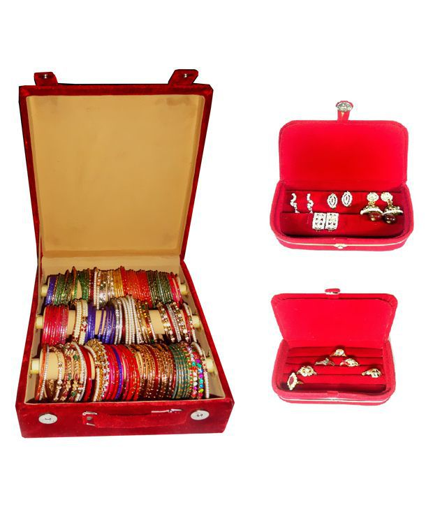 Atorakushon Combo Deal 3 Roll Rod Bangles Box 1 Earring Box Ring 1 Ring Box Jewelry Case