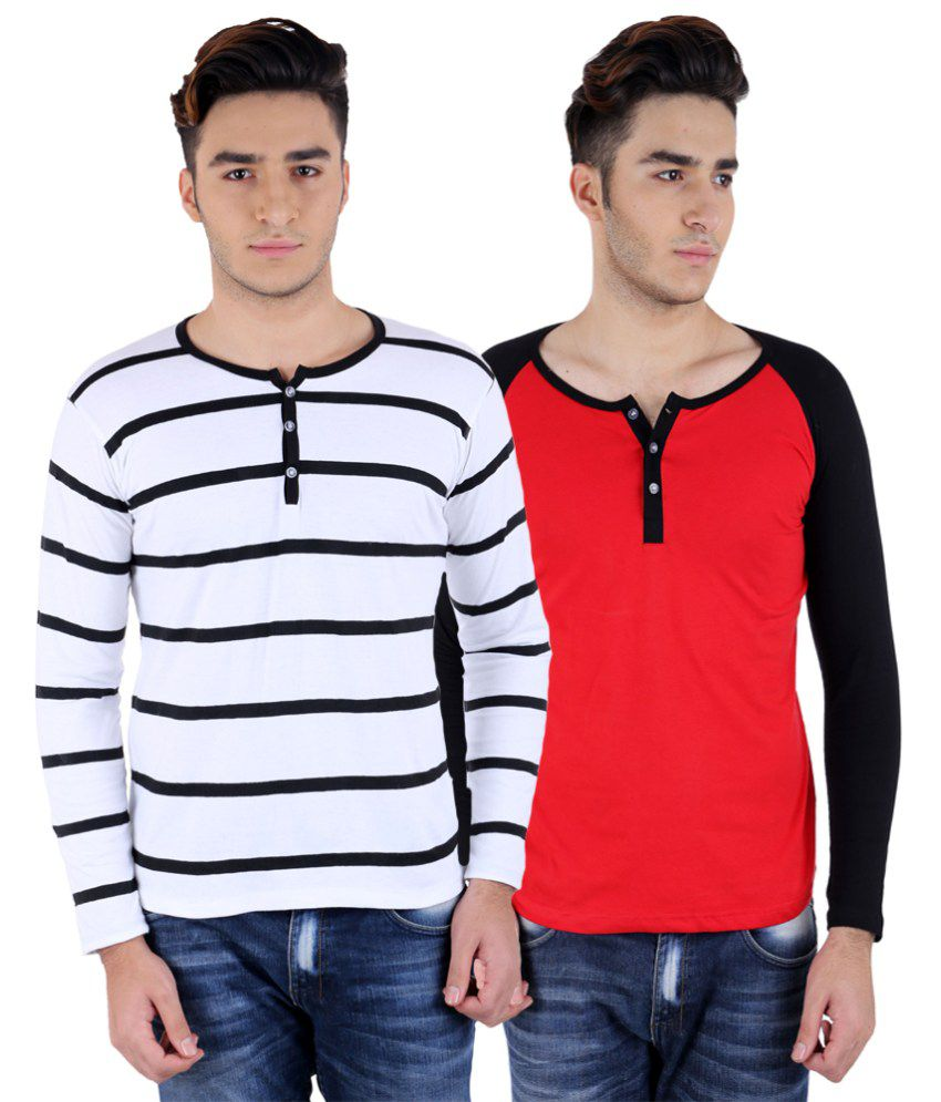 Big Idea Wht-Blk & Blk-Red Henley T-Shirts Pack Of 2