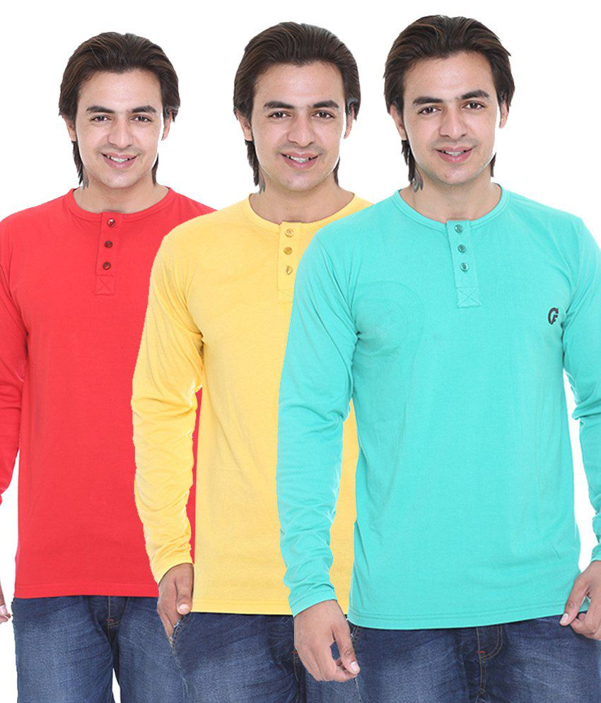 Cee For Red-Light Green-Yellow Henley T-Shirt Combo Pack Of - 3
