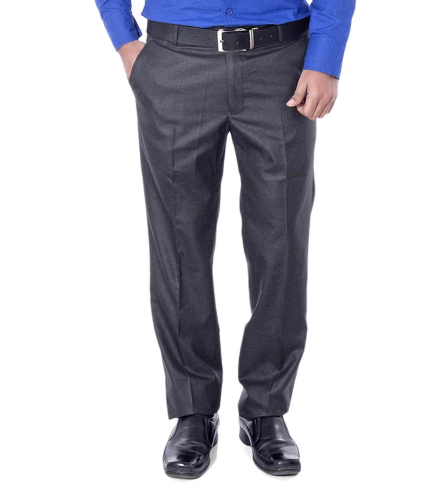 Dmark Grey Regular Fit Formal Pleated Trouser