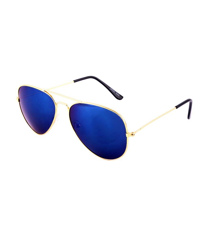 Goe World Blue Medium Unisex Aviator Sunglasses