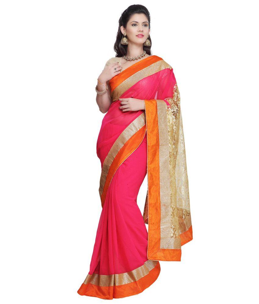Janasya Pink Chiffon Saree