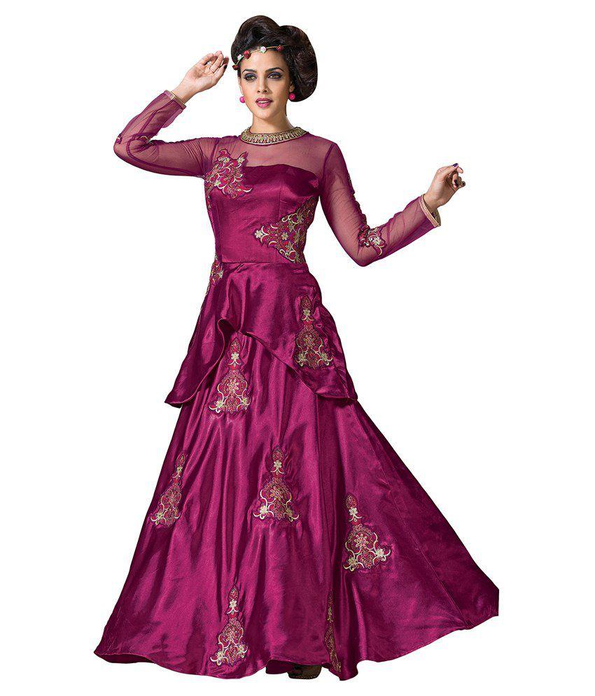 Sai Laxmi Fashion Purple Net Semi Stitched Dress Material