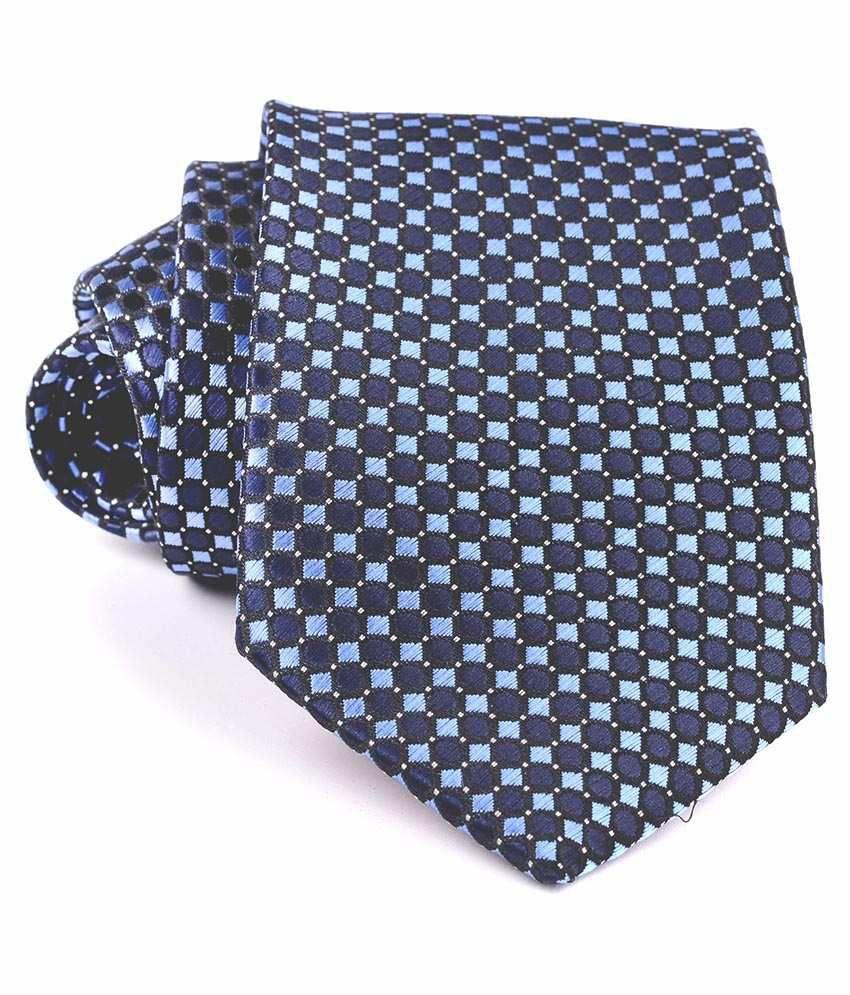 Aeht 1010-434 Chequered Blue With White Dot Design Necktie
