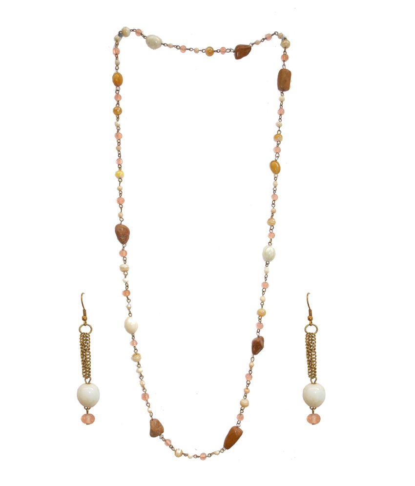 Amrit Enterprises Orange Alloy Pearl Necklace Set