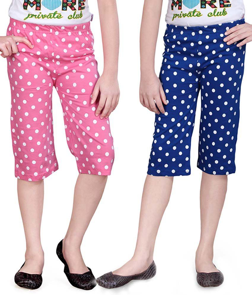Sini Mini Pink And Blue Capris - Pack Of 2
