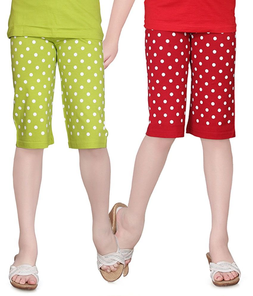 Sinimini Red And Green Capris - Pack Of 2