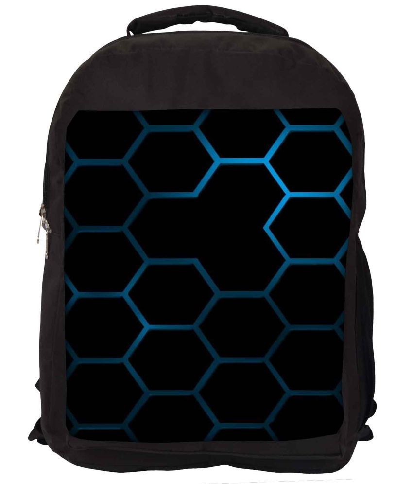 Snoogg Black and Blue Nylon Laptop Backpack
