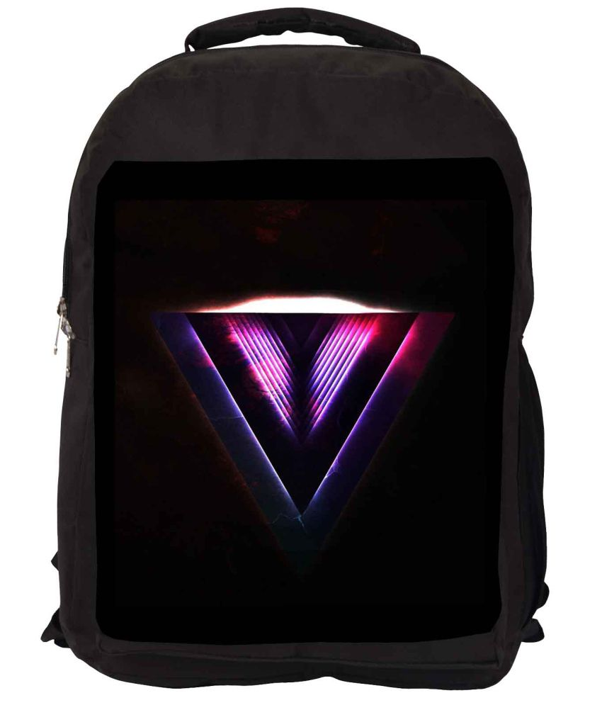 Snoogg Black and Purple Nylon Laptop Backpack