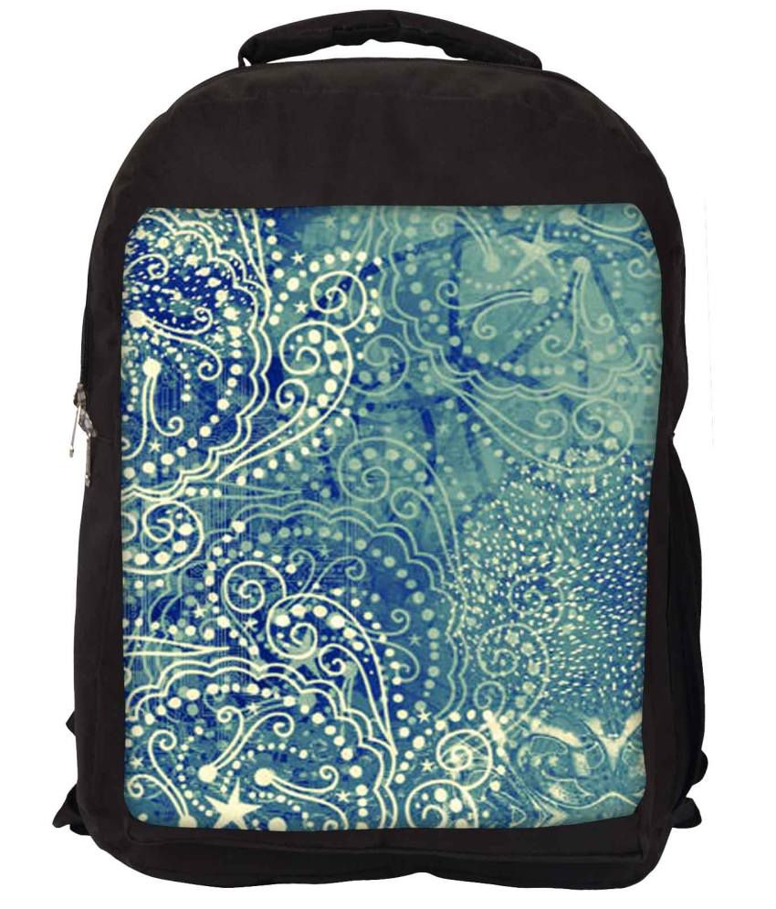Snoogg Blue and Green Nylon Laptop Backpack