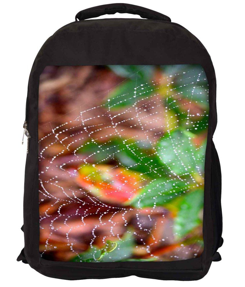 Snoogg Green and Brown Nylon Laptop Backpack