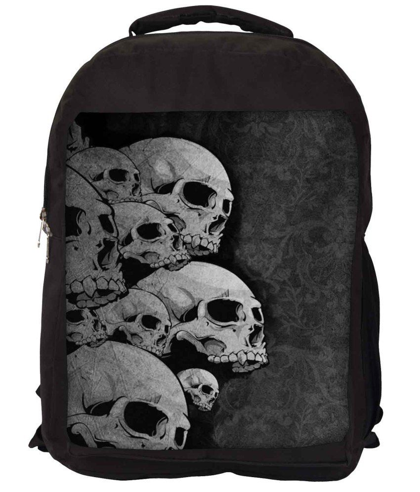 Snoogg Grey and Black Nylon Laptop Backpack